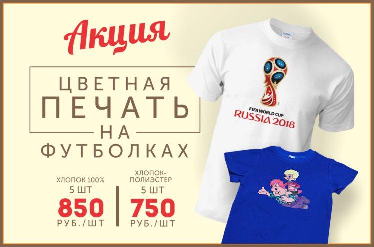 Цветная печать на футболках от 750 руб. за штуку